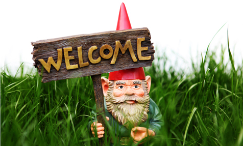 Garden Gnome with Welcom Sign