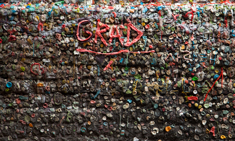 Wall of gum near Pike Place Market in Seattle, WA.